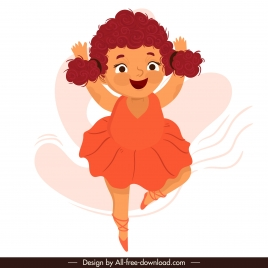 ballerina icon cute girl sketch cartoon character design