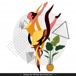 ballerina icon dancing gesture cartoon character