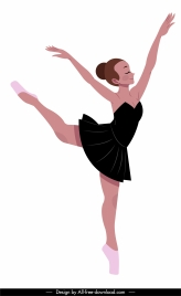 ballet performer icon pretty girl sketch dynamic design