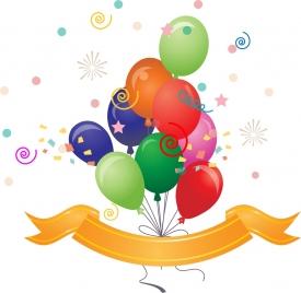 balloon background eventful colorful design ribbon decoration