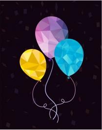 balloon background polygonal design blue violet yellow design