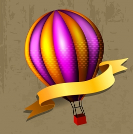 balloon icon decoration colorful ornament with yellow ribbon