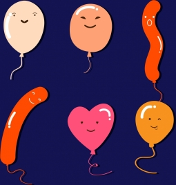 balloon icons collection various colored shapes design