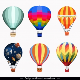balloon icons colorful flat sketch