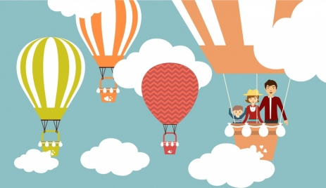 balloons background colorful cartoon style family trip design