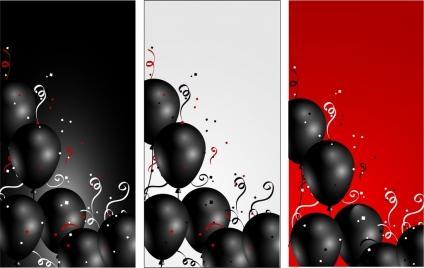 balloons background sets black design classical curves decoration