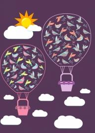 balloons birds background dark design cartoon style