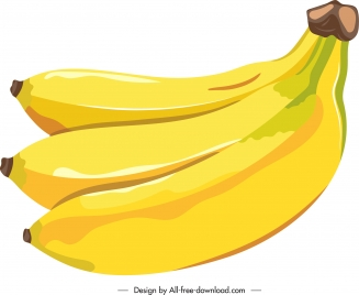 banana icon bright yellow classic sketch