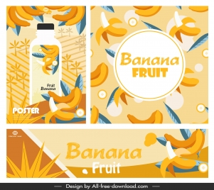 banana juice advertising banners bright colorful classic decor