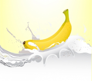 banana milk background 3d bright decoration