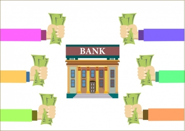 bank saving demand concept hands holding money icons