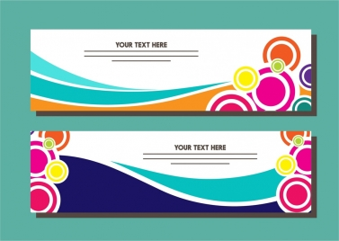 banner design sets colorful circles and curves style