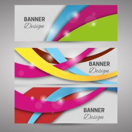banner sets with colorful curved lines design