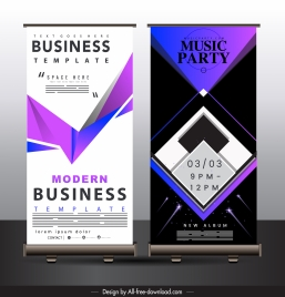 banner templates modern technology decor vertical standee shape