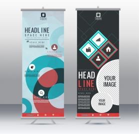 banner templates vertical roll design modern geometric decor