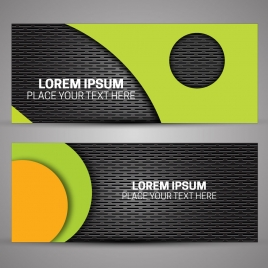 banners design with contrasted colored plastic background