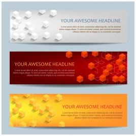 banners set with 3d cubic design background
