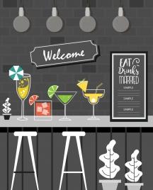 bar backdrop grey decor cocktail wineglasses icons