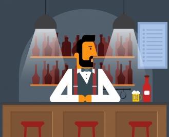 bar drawing bartender lights icons cartoon design