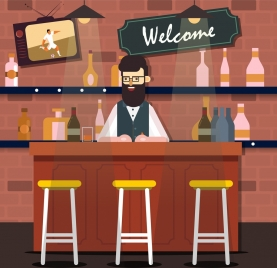 bar drawing male bartender empty seat icons