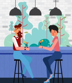 bar drawing male female guest icons colored cartoon