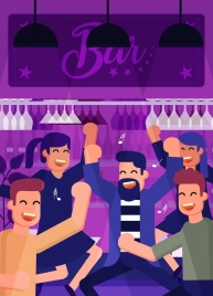 bar party background cheering people icon cartoon characters