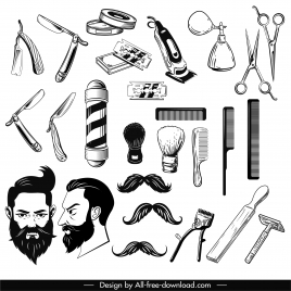 barber design elements black white tools hairstyle sketch