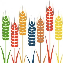 barley background colorful flat icons decoration