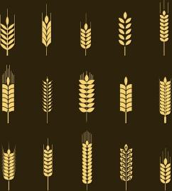 barley background yellow icons isolation