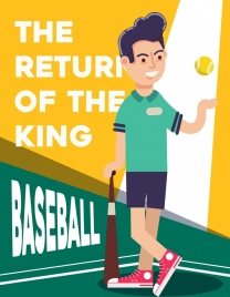 baseball banner player icon cartoon character