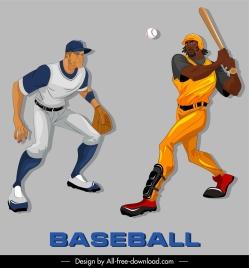 baseball icons colored cartoon characters sketch