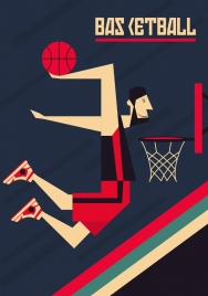 basketball background male player icon colored cartoon