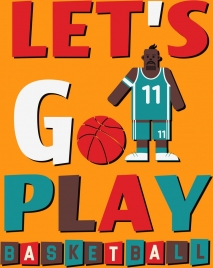 basketball baner black male player icon texts decor