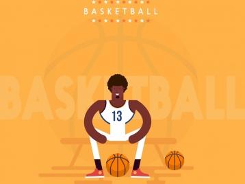 basketball banner athletic balls texts decor