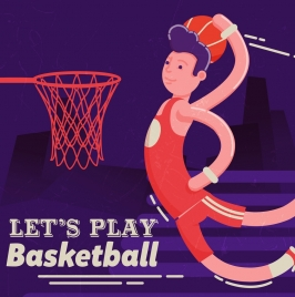 basketball banner male player icon colored cartoon design
