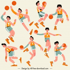 basketball player icons dynamic sketch cartoon characters