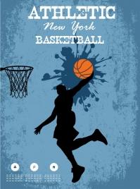 basketball poster athlete silhouette grunge splashing decor