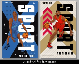 basketball posters dynamic design cartoon character sketch