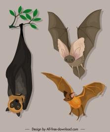 bat species icons gestures sketch cartoon design
