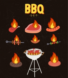 bbq cuisines sets fire food icons decoration