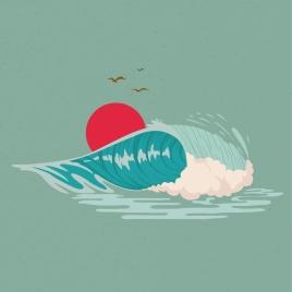 beach drawing wave sun bird icons decoration