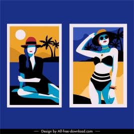 beach fashion templates lady sketch colorful classic design