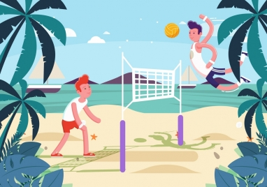 beach holiday background men playing volley ball icon
