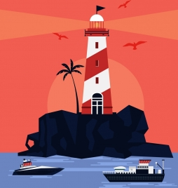 beach painting lighthouse ships icons red decor