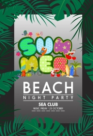 beach party banner colorful texts green leaves decoration