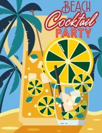 beach party banner glass lemon slice coconut icons