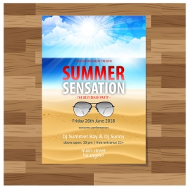 beach party leaflet illustration with seascape background