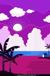 beach scene background colorful classical decor