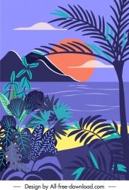 beach scene painting dark colorful retro handdrawn design