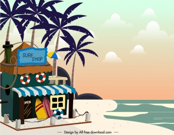 beach scene painting surf store sketch colorful classic